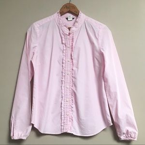 J.Crew pink and white pinstripe buttondown shirt